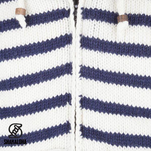 Shakaloha Shakaloha Wolljacke - Strickjacke Split Ziphood Weißes Marineblau mit Fleece-Futter und Abnehmbarer Kapuze - Herren - Uni - Handgemacht in Nepal aus Schafwolle