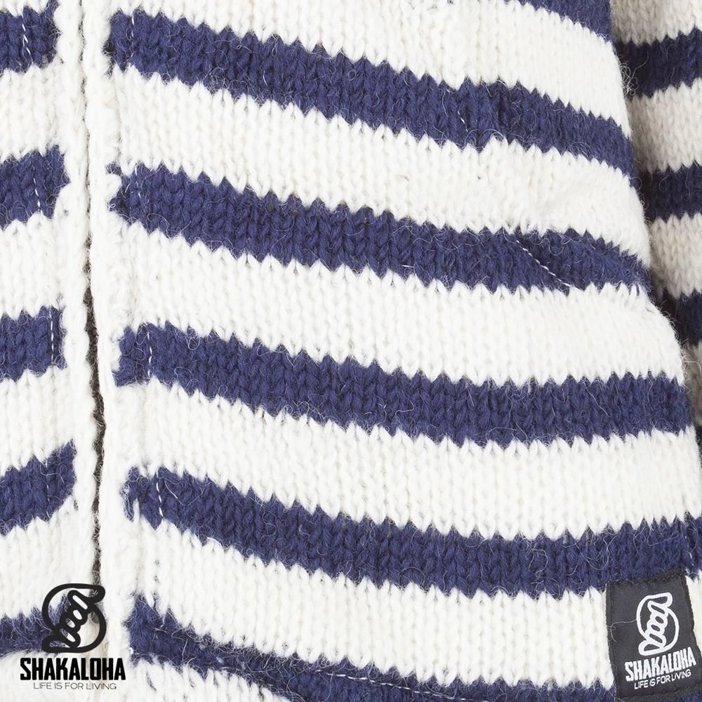 Shakaloha Shakaloha Gebreid Wollen Vest Split Ziphood Wit Navy Blauw met Fleece Voering en Afneembare Capuchon - Man/Uni - Handgemaakt in Nepal van Schapenwol