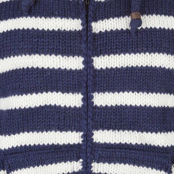 Shakaloha Shakaloha Knitted Woolen Jacket Split Ziphood Navy Blue White with Fleece Lining and Detachable Hood - Men - Unisex - Handmade in Nepal from sheep's wool