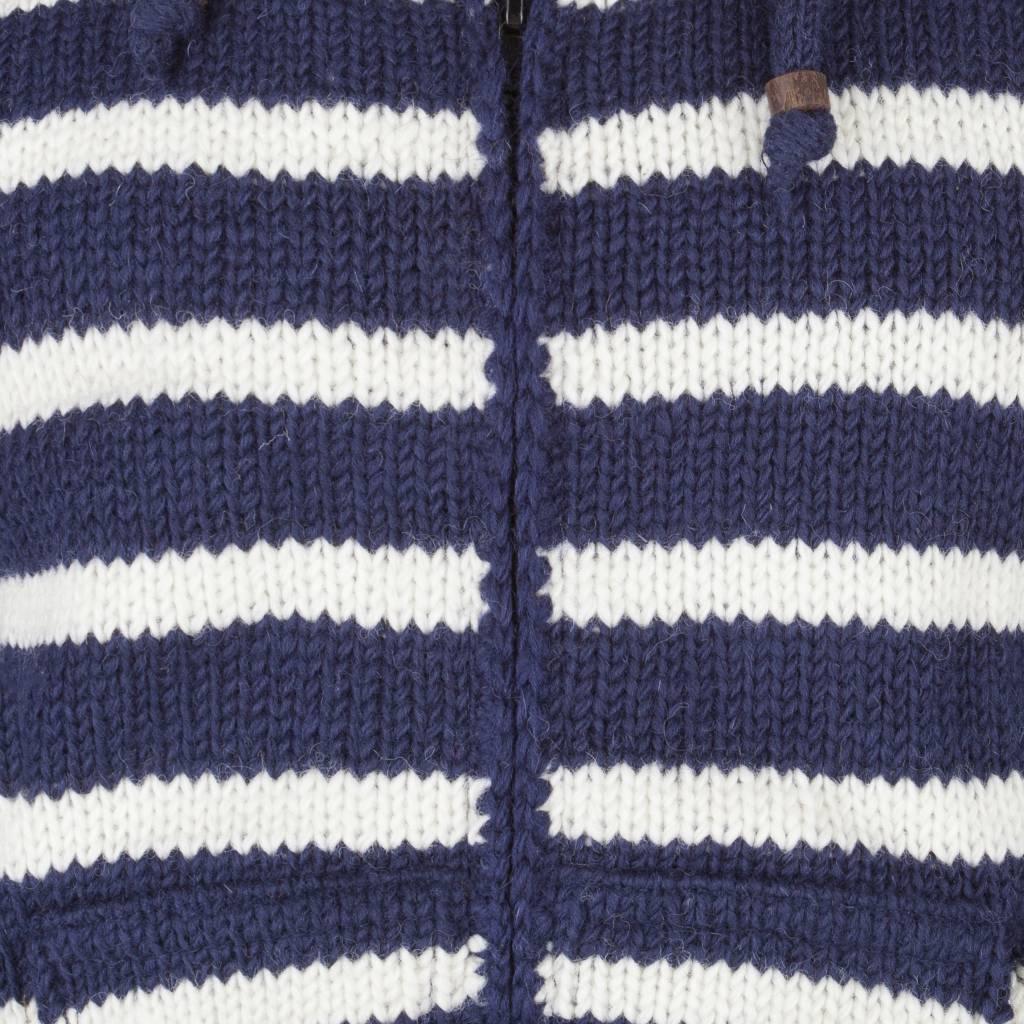 Shakaloha Shakaloha Gebreid Wollen Vest Split Ziphood Navy Blauw Wit met Fleece Voering en Afneembare Capuchon - Man/Uni - Handgemaakt in Nepal van Schapenwol