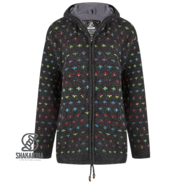 Shakaloha Shakaloha Knitted Woolen Jacket Flake Anthracite Multicolor with Fleece Lining and Hood with inner collar - Woman - Handmade in Nepal from sheep's wool