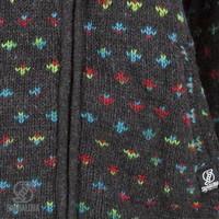 Shakaloha Shakaloha Veste en Laine Tricoté Flake Anthracite multicolore avec Doublure en polaire et Capuche avec col intérieur - Femmes - Fabriqué à la main au Népal en laine de mouton