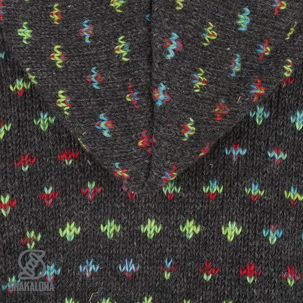 Shakaloha Shakaloha Wolljacke - Strickjacke Flake Anthrazit Multicolor mit Fleece-Futter und Kapuze mit Innenkragen - Damen - Handgemacht in Nepal aus Schafwolle