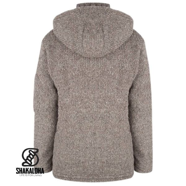 Shakaloha Shakaloha Knitted Woolen Jacket Crush Ziphood Light Brown Taupe with Fleece Lining and Detachable Hood - Men - Unisex - Handmade in Nepal from sheep's wool