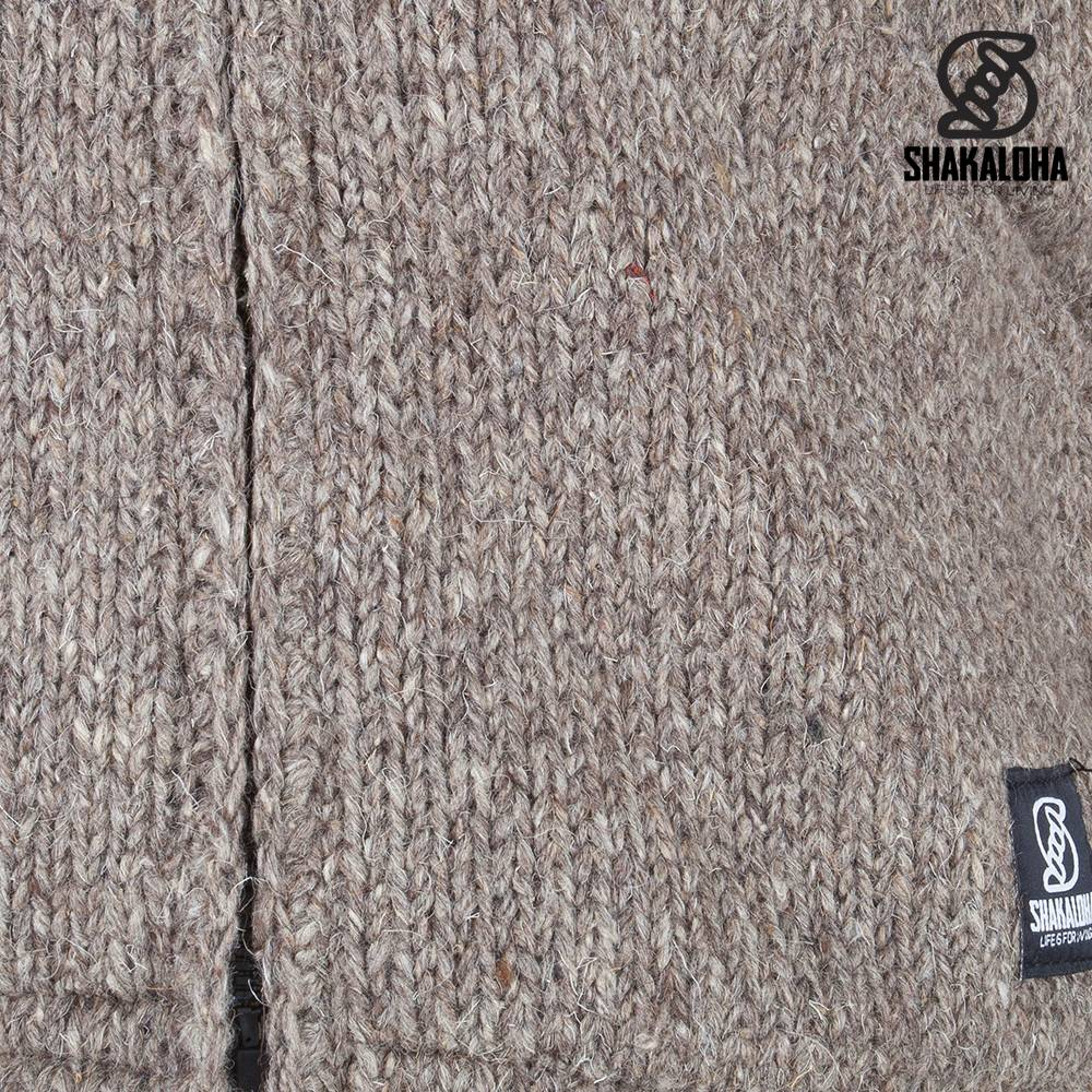 Shakaloha Shakaloha Gebreid Wollen Vest Crush Ziphood Licht Bruin Taupe met Fleece Voering en Afneembare Capuchon - Man/Uni - Handgemaakt in Nepal van Schapenwol