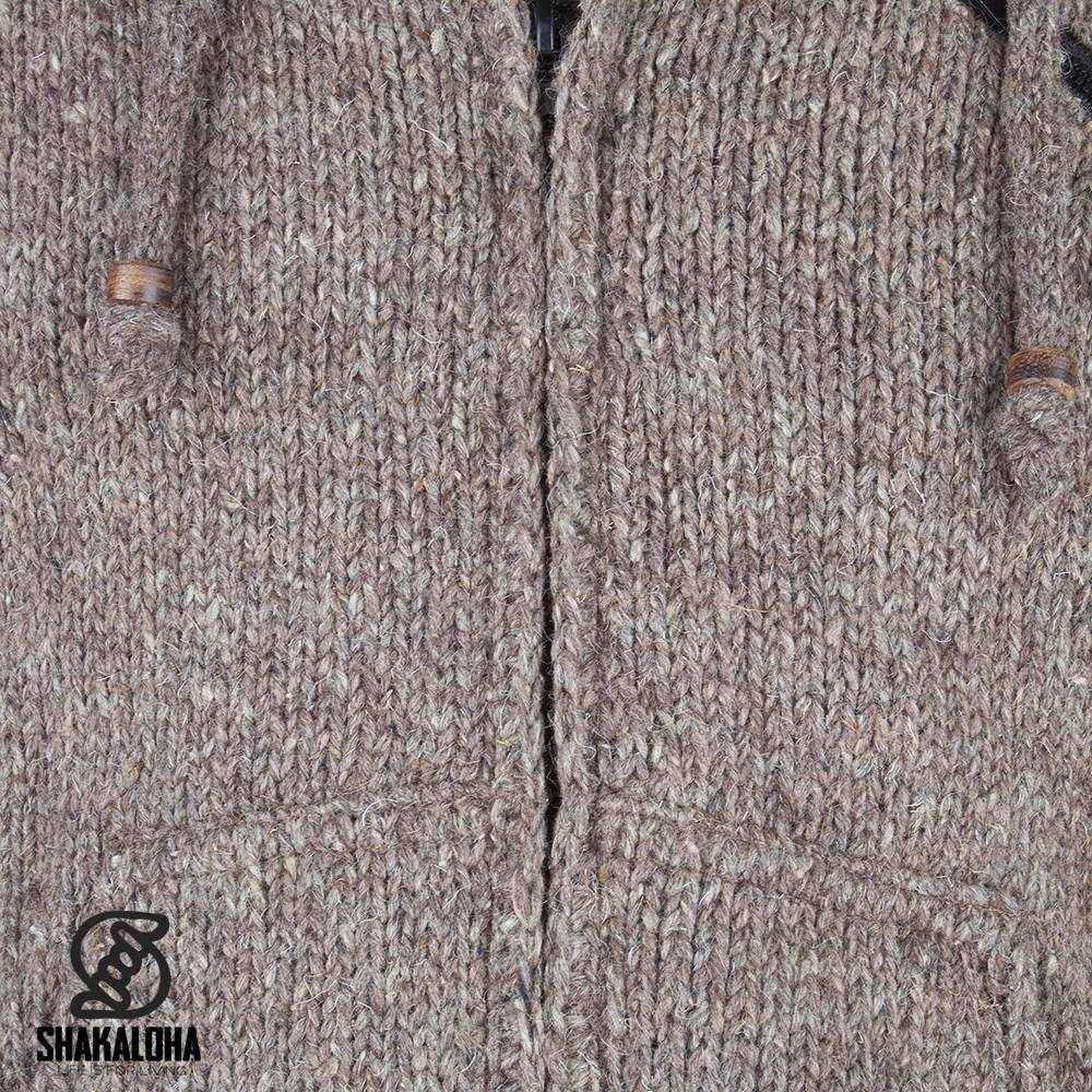 Shakaloha Shakaloha Wolljacke - Strickjacke Crush Ziphood Hellbraune Taupe mit Fleece-Futter und Abnehmbarer Kapuze - Herren - Uni - Handgemacht in Nepal aus Schafwolle