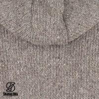 Shakaloha Shakaloha Veste en Laine Tricoté Crush Ziphood Taupe marron clair avec Doublure en polaire et Capuche détachable - Hommes - Uni - Fabriqué à la main au Népal en laine de mouton
