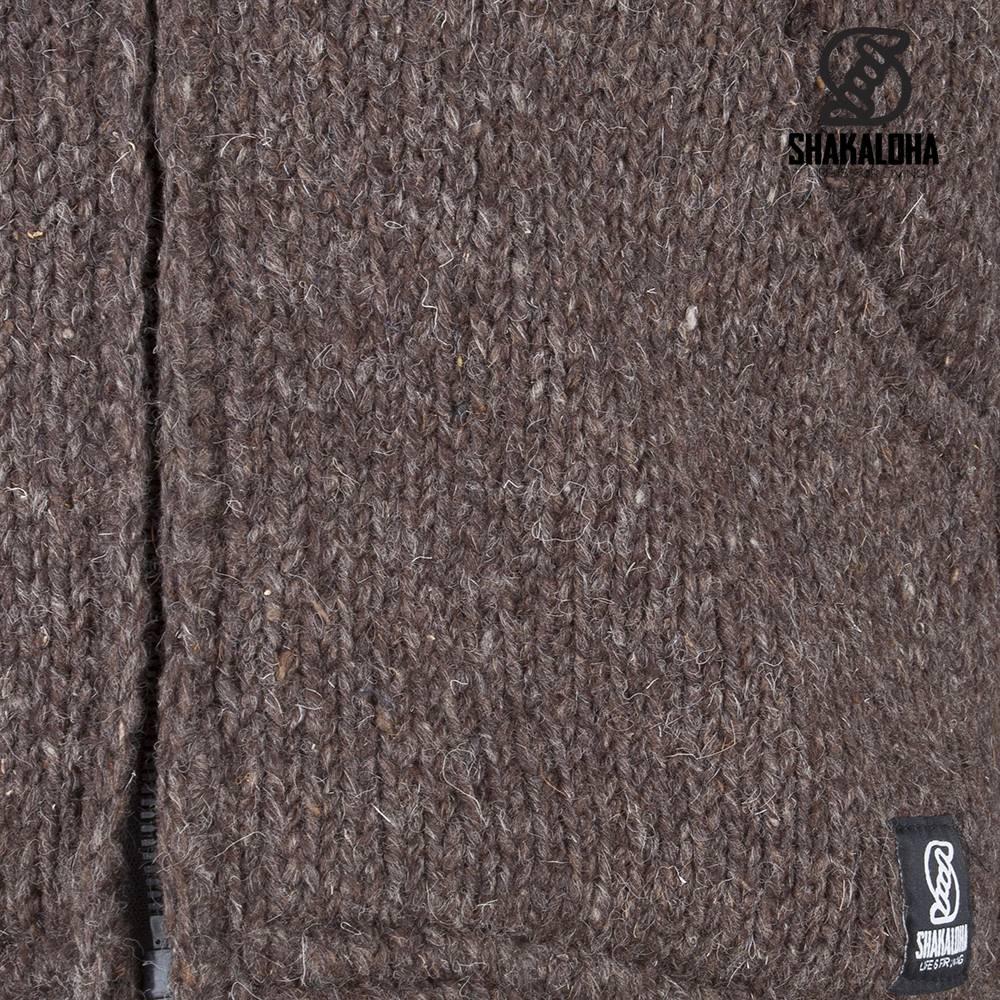 Shakaloha Shakaloha Gebreid Wollen Vest Crush Ziphood Donker Bruin met Fleece Voering en Afneembare Capuchon - Man/Uni - Handgemaakt in Nepal van Schapenwol