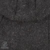Shakaloha Shakaloha Wolljacke - Strickjacke Gin Ziphood Anthrazit mit Fleece-Futter und Abnehmbarer Kapuze - Damen - Handgemacht in Nepal aus Schafwolle
