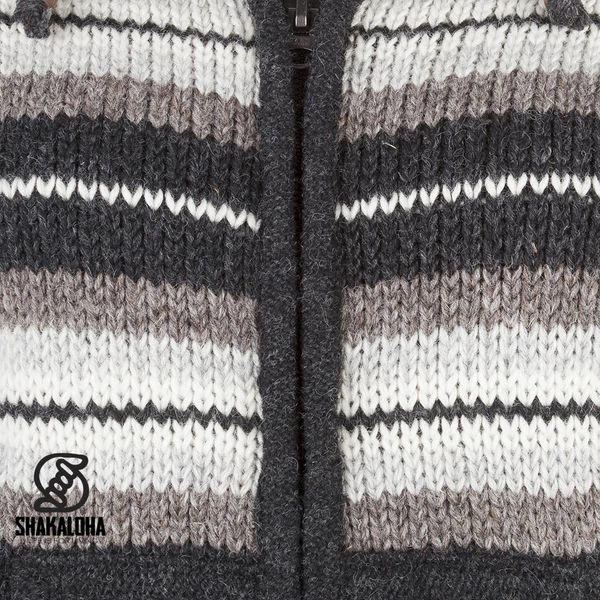 Shakaloha Shakaloha Wolljacke - Strickjacke Pilgrim Natürliche Farben mit Fleece-Futter und Kapuze mit Innenkragen - Damen - Handgemacht in Nepal aus Schafwolle