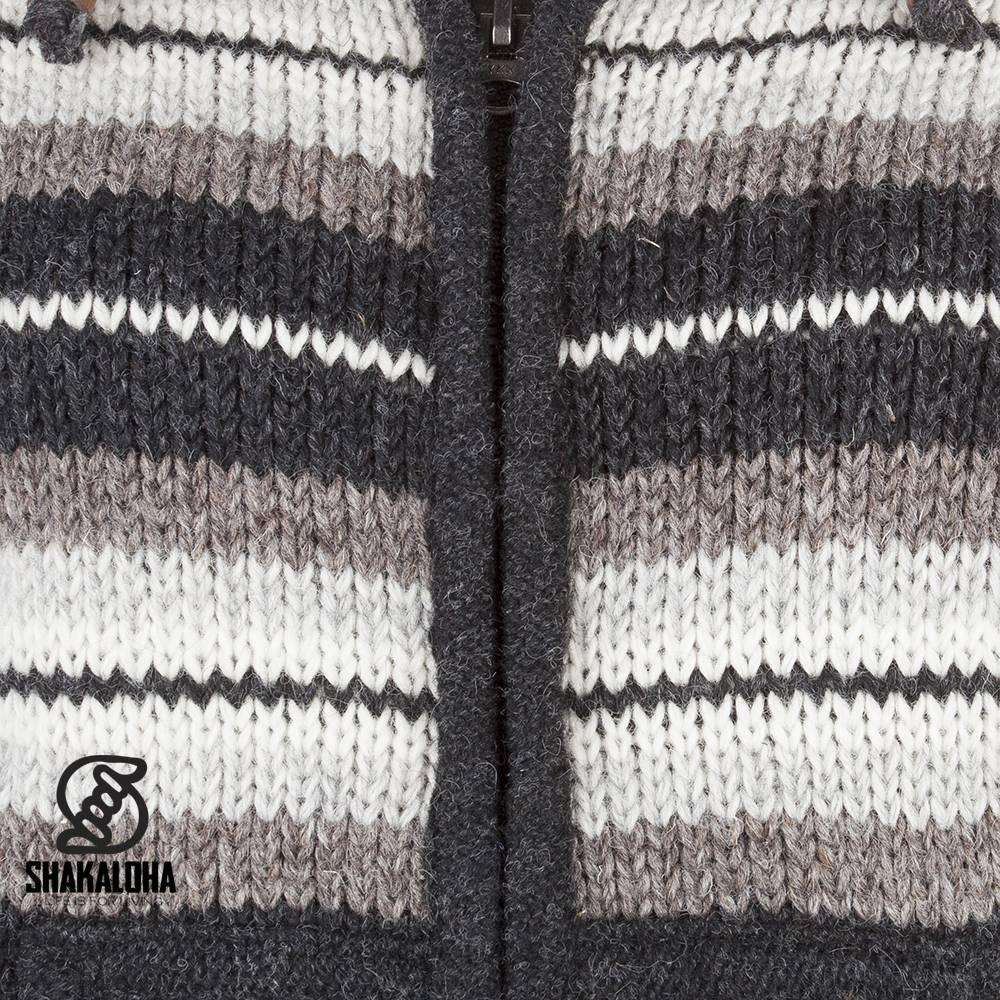 Shakaloha Shakaloha Gebreid Wollen Vest Pilgrim Natuurkleuren met Fleece Voering en Capuchon met Binnenkraag - Dames - Handgemaakt in Nepal van Schapenwol