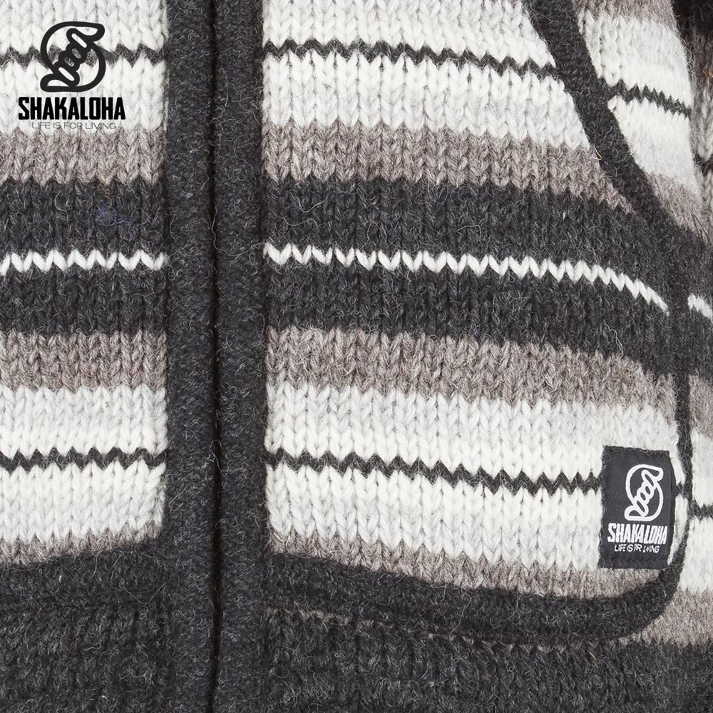 Shakaloha Shakaloha Veste en Laine Tricoté Pilgrim Couleurs naturelles avec Doublure en polaire et Capuche avec col intérieur - Femmes - Fabriqué à la main au Népal en laine de mouton