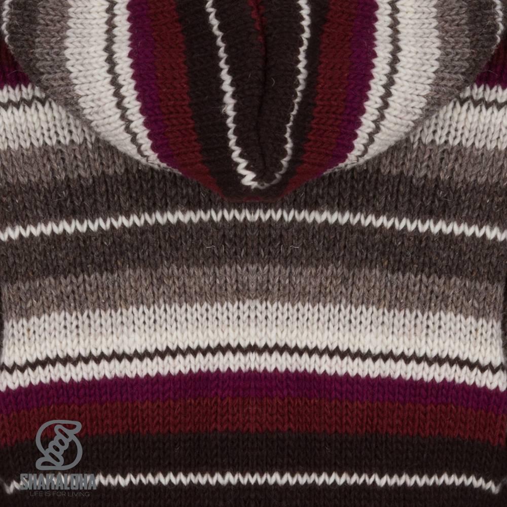 Shakaloha Shakaloha Gebreid Wollen Vest Pilgrim Wijnrood Grijs met Fleece Voering en Capuchon met Binnenkraag - Dames - Handgemaakt in Nepal van Schapenwol