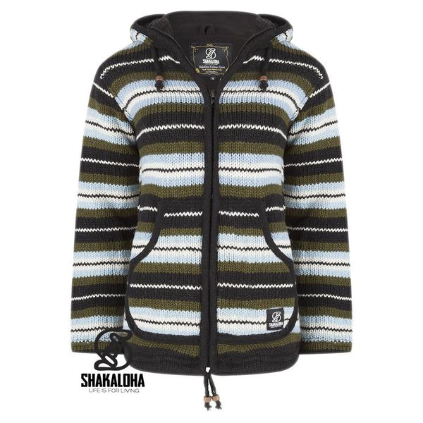 Shakaloha Shakaloha Knitted Woolen Jacket Pilgrim Green Light Blue with Fleece Lining and Hood with inner collar - Woman - Handmade in Nepal from sheep's wool
