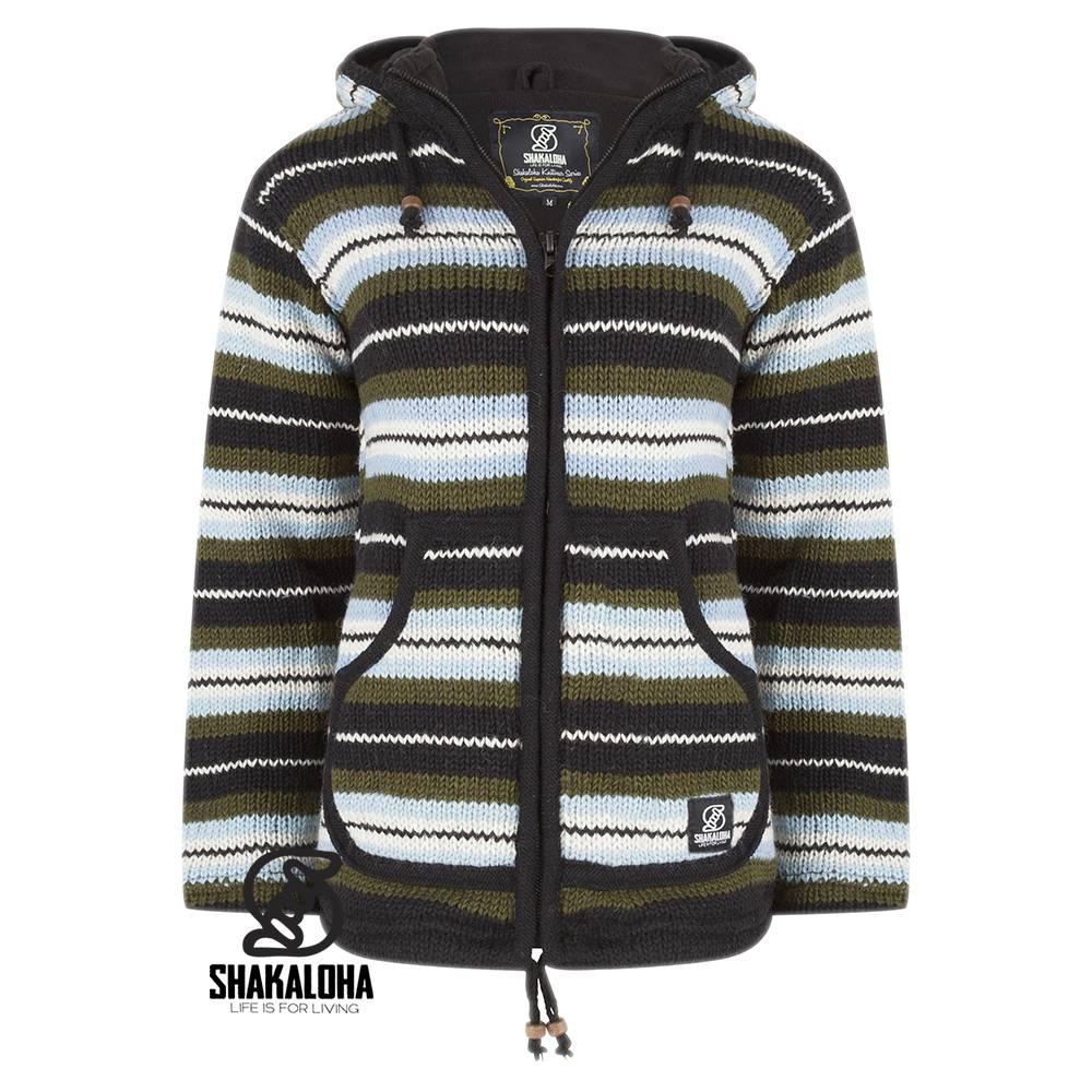 Shakaloha Shakaloha Veste en Laine Tricoté Pilgrim Vert bleu clair avec Doublure en polaire et Capuche avec col intérieur - Femmes - Fabriqué à la main au Népal en laine de mouton