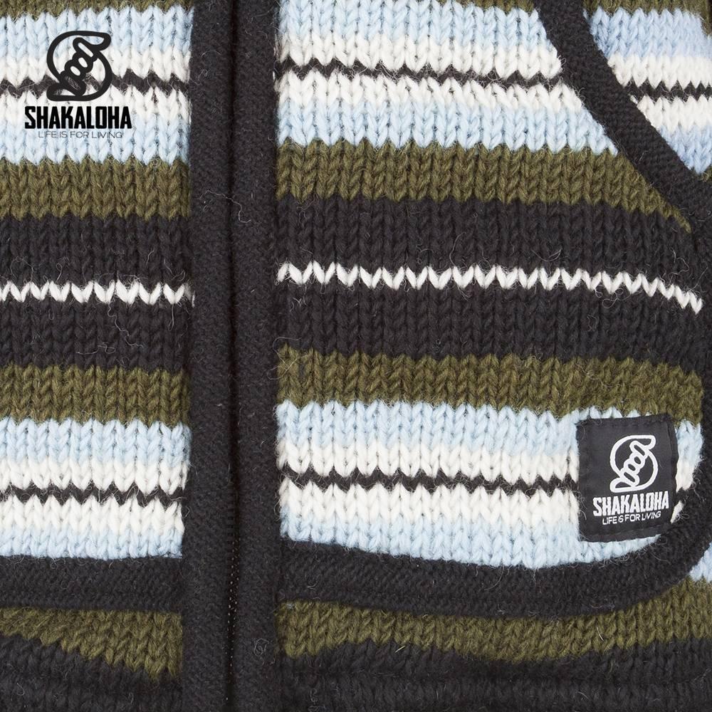 Shakaloha Shakaloha Wolljacke - Strickjacke Pilgrim Grünes Hellblau mit Fleece-Futter und Kapuze mit Innenkragen - Damen - Handgemacht in Nepal aus Schafwolle