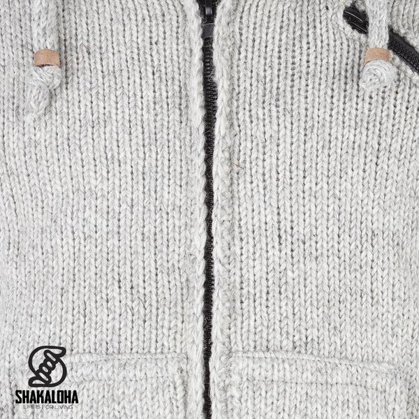 Shakaloha Shakaloha Knitted Woolen Jacket Crush Ziphood Gray with Fleece Lining and Detachable Hood - Men - Unisex - Handmade in Nepal from sheep's wool