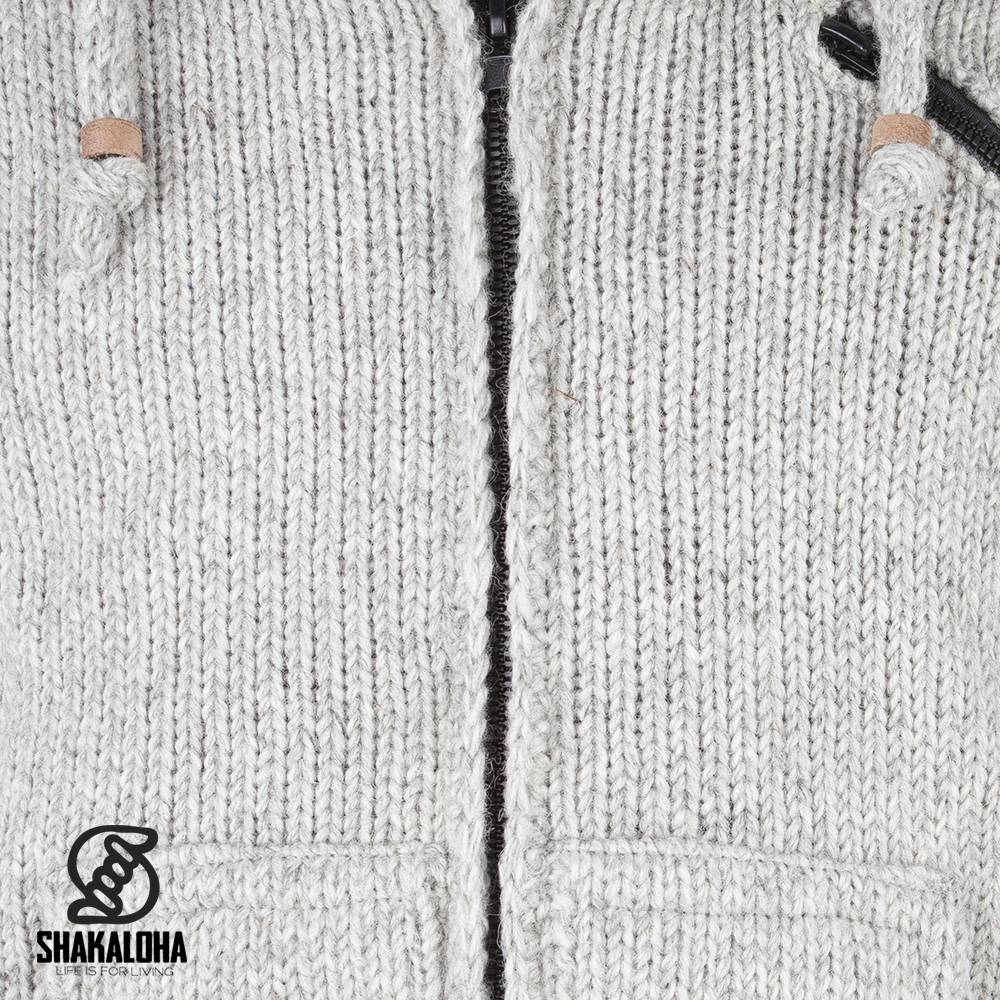 Shakaloha Shakaloha Wolljacke - Strickjacke Crush Ziphood Grau mit Fleece-Futter und Abnehmbarer Kapuze - Herren - Uni - Handgemacht in Nepal aus Schafwolle
