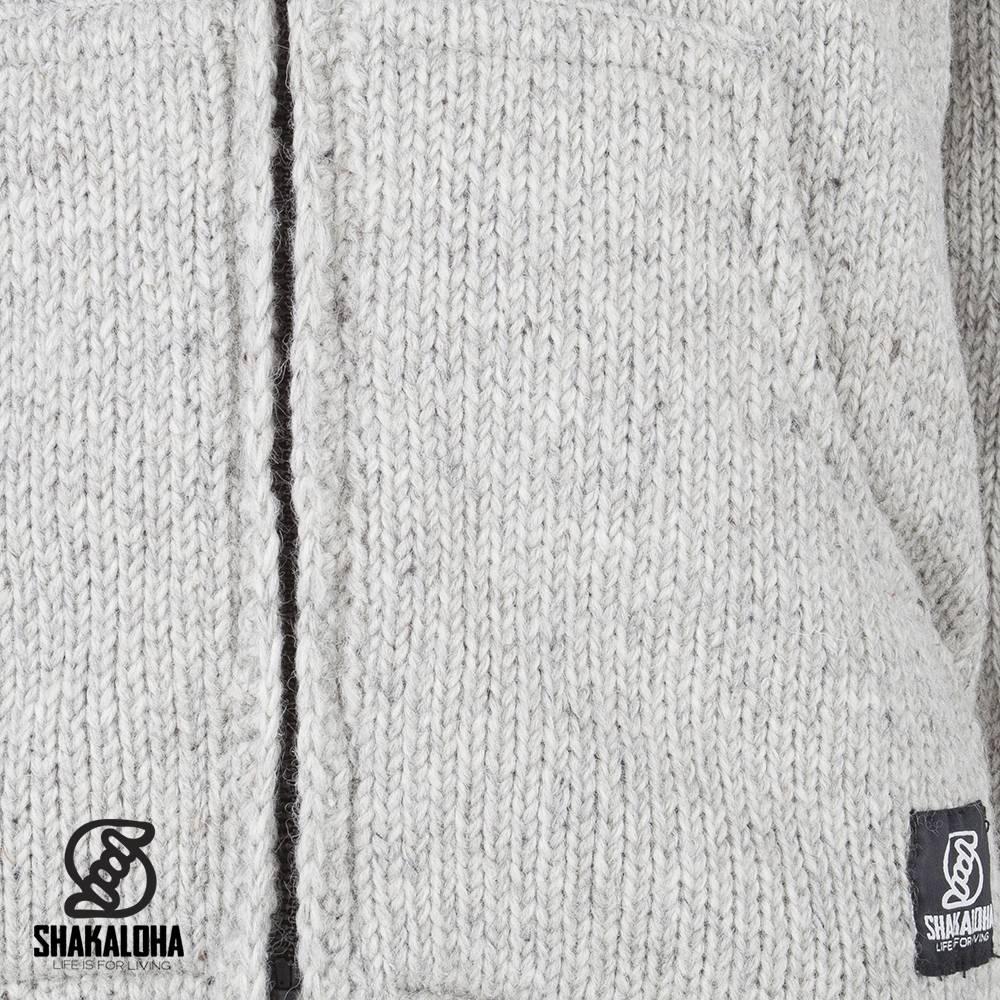 Shakaloha Shakaloha Veste en Laine Tricoté Crush Ziphood gris avec Doublure en polaire et Capuche détachable - Hommes - Uni - Fabriqué à la main au Népal en laine de mouton