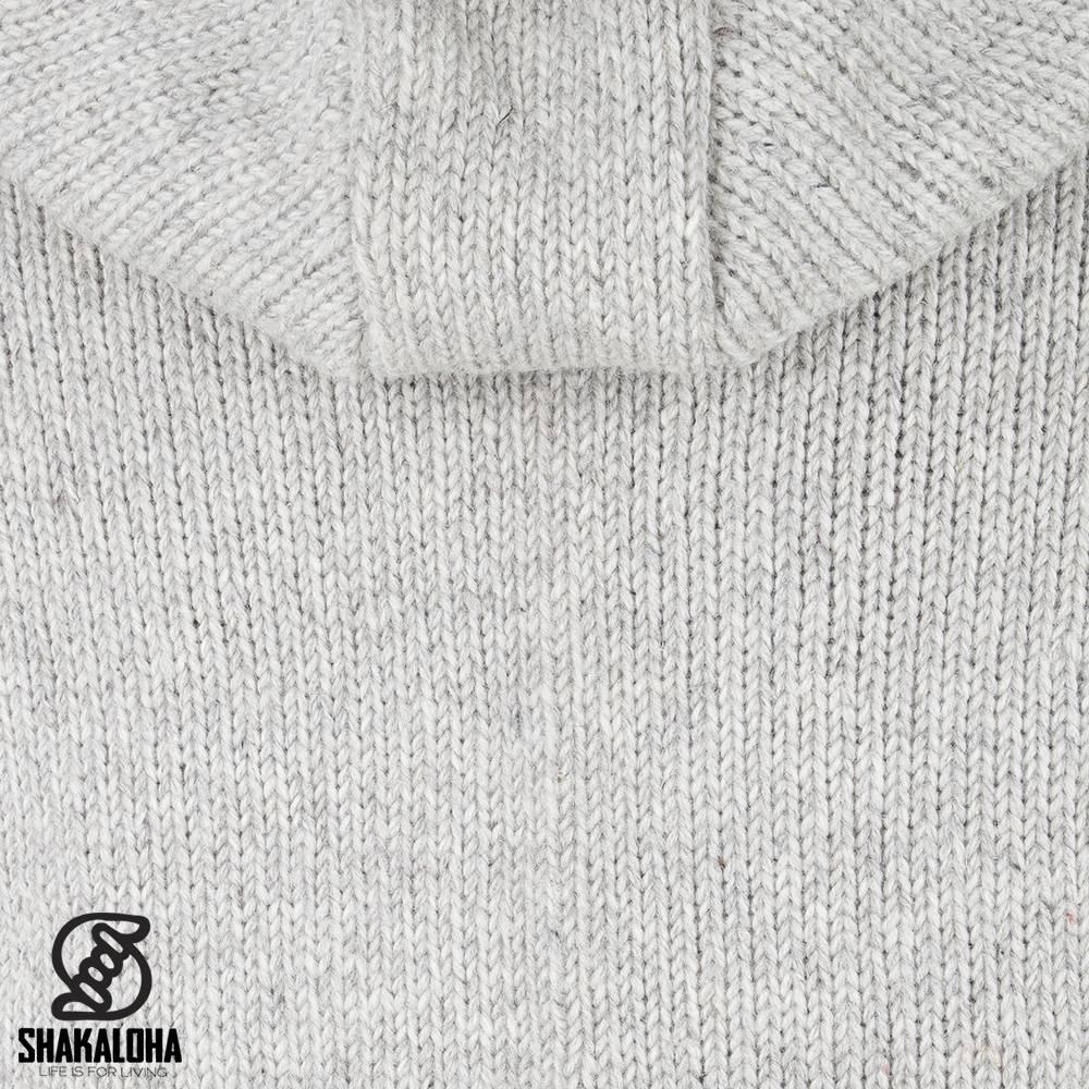 Shakaloha Shakaloha Knitted Woolen Jacket Crush Ziphood Gray with Fleece Lining and Detachable Hood - Men - Unisex - Handmade in Nepal from sheep's wool