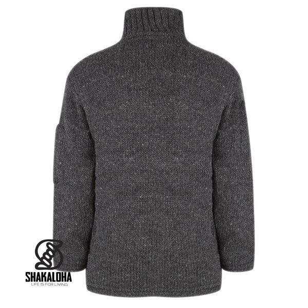 Shakaloha Shakaloha Knitted Woolen Jacket Crush Collar Anthracite with Fleece Lining and High Collar - Men - Unisex - Handmade in Nepal from sheep's wool