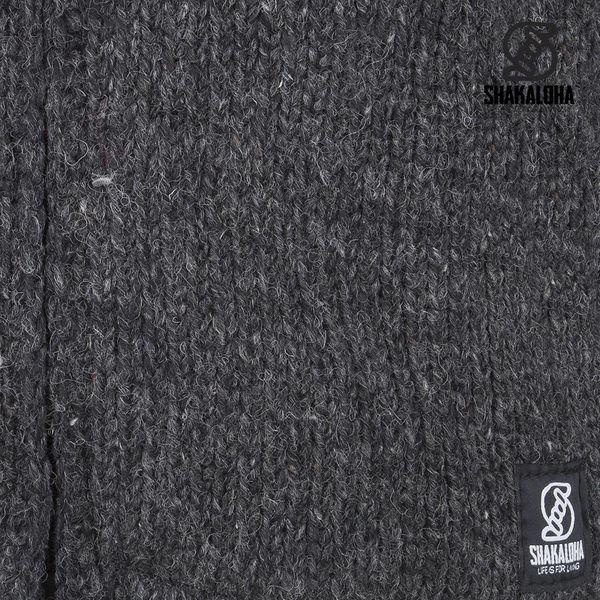 Shakaloha Shakaloha Wolljacke - Strickjacke Crush Collar Anthrazit mit Fleece-Futter und hohem Kragen - Herren - Uni - Handgemacht in Nepal aus Schafwolle