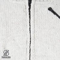 Shakaloha Shakaloha Wolljacke - Strickjacke Crush Collar Beige Creme mit Fleece-Futter und hohem Kragen - Herren - Uni - Handgemacht in Nepal aus Schafwolle