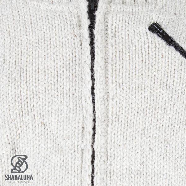 Shakaloha Shakaloha Gebreid Wollen Vest Crush Collar Beige Crème met Fleece Voering en Hoge Kraag - Man/Uni - Handgemaakt in Nepal van Schapenwol