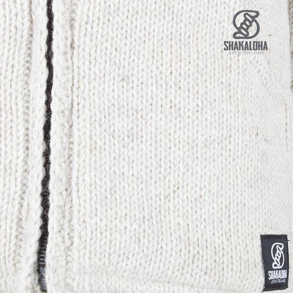 Shakaloha Shakaloha Knitted Woolen Jacket Crush Collar Beige Cream with Fleece Lining and High Collar - Men - Unisex - Handmade in Nepal from sheep's wool