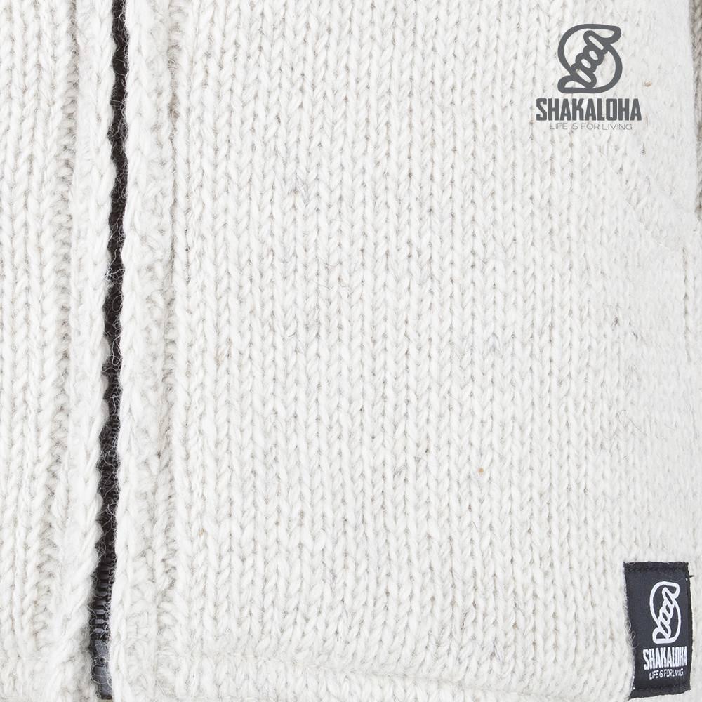 Shakaloha Shakaloha Veste en Laine Tricoté Crush Collar Crème beige avec Doublure en polaire et Col haut - Hommes - Uni - Fabriqué à la main au Népal en laine de mouton