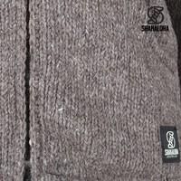 Shakaloha Shakaloha Wolljacke - Strickjacke Crush Collar Hellbraune Taupe mit Fleece-Futter und hohem Kragen - Herren - Uni - Handgemacht in Nepal aus Schafwolle