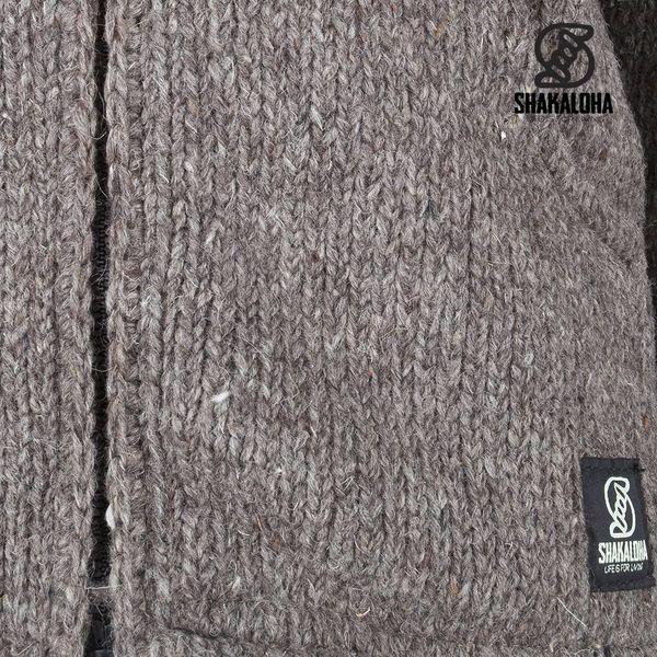 Shakaloha Shakaloha Knitted Woolen Jacket Crush Collar Light Brown Taupe with Fleece Lining and High Collar - Men - Unisex - Handmade in Nepal from sheep's wool