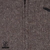 Shakaloha Shakaloha Gebreid Wollen Vest Crush Collar Donker Bruin met Fleece Voering en Hoge Kraag - Man/Uni - Handgemaakt in Nepal van Schapenwol