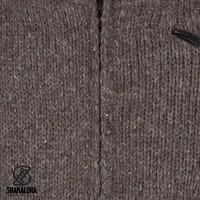 Shakaloha Shakaloha Knitted Woolen Jacket Crush Collar Dark brown with Fleece Lining and High Collar - Men - Unisex - Handmade in Nepal from sheep's wool