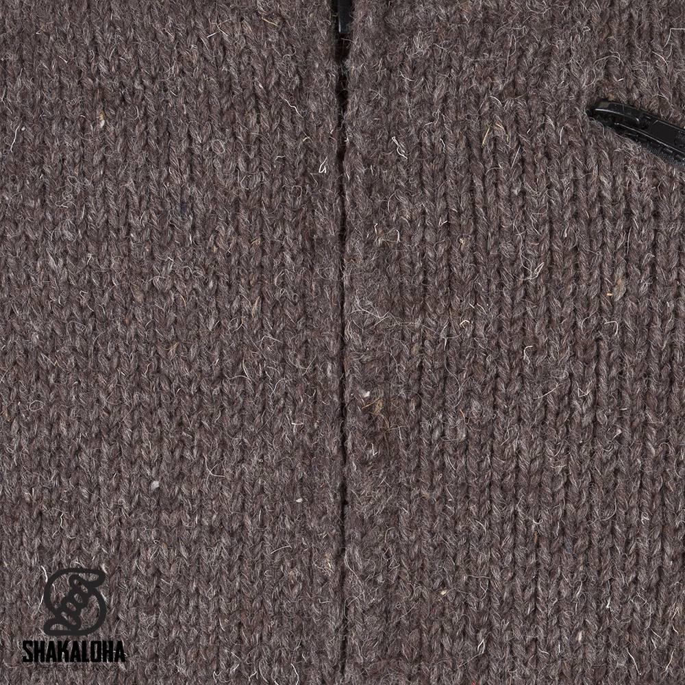 Shakaloha Shakaloha Veste en Laine Tricoté Crush Collar Marron foncé avec Doublure en polaire et Col haut - Hommes - Uni - Fabriqué à la main au Népal en laine de mouton