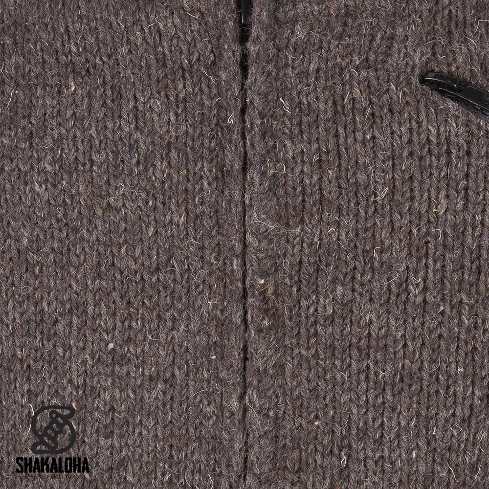Shakaloha Shakaloha Wolljacke - Strickjacke Crush Collar Dunkelbraun mit Fleece-Futter und hohem Kragen - Herren - Uni - Handgemacht in Nepal aus Schafwolle