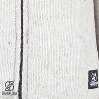 Shakaloha Shakaloha Wolljacke - Strickjacke Flash Collar Beige Creme mit Fleece-Futter und hohem Kragen - Herren - Uni - Handgemacht in Nepal aus Schafwolle