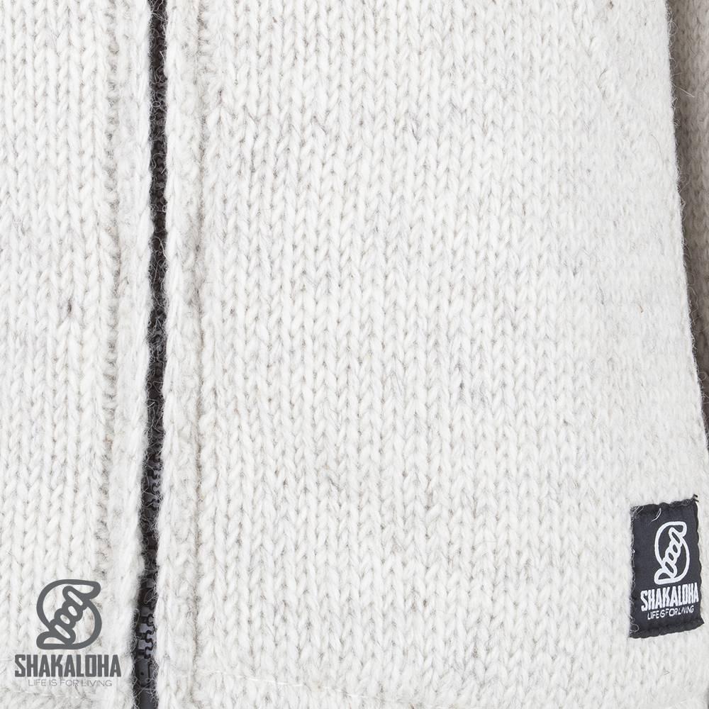 Shakaloha Shakaloha Veste en Laine Tricoté Flash Collar Crème beige avec Doublure en polaire et Col haut - Hommes - Uni - Fabriqué à la main au Népal en laine de mouton