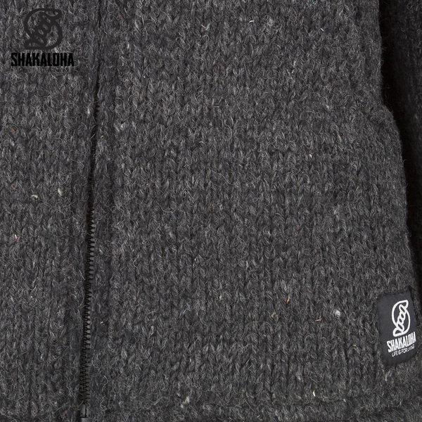 Shakaloha Shakaloha Knitted Woolen Jacket Flash Collar Anthracite with Fleece Lining and High Collar - Men - Unisex - Handmade in Nepal from sheep's wool