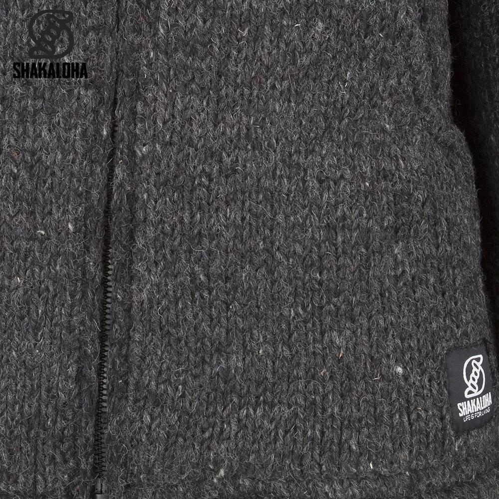 Shakaloha Shakaloha Gebreid Wollen Vest Flash Collar Antraciet met Fleece Voering en Hoge Kraag - Man/Uni - Handgemaakt in Nepal van Schapenwol
