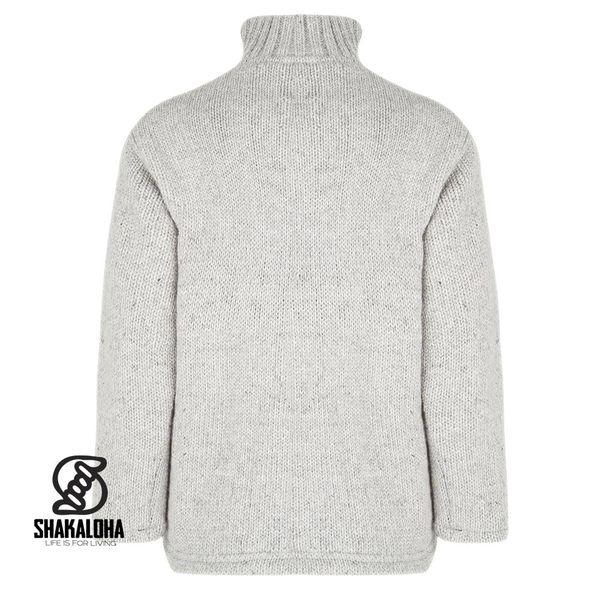 Shakaloha Shakaloha Gebreid Wollen Vest Flash Collar Grijs met Fleece Voering en Hoge Kraag - Man/Uni - Handgemaakt in Nepal van Schapenwol
