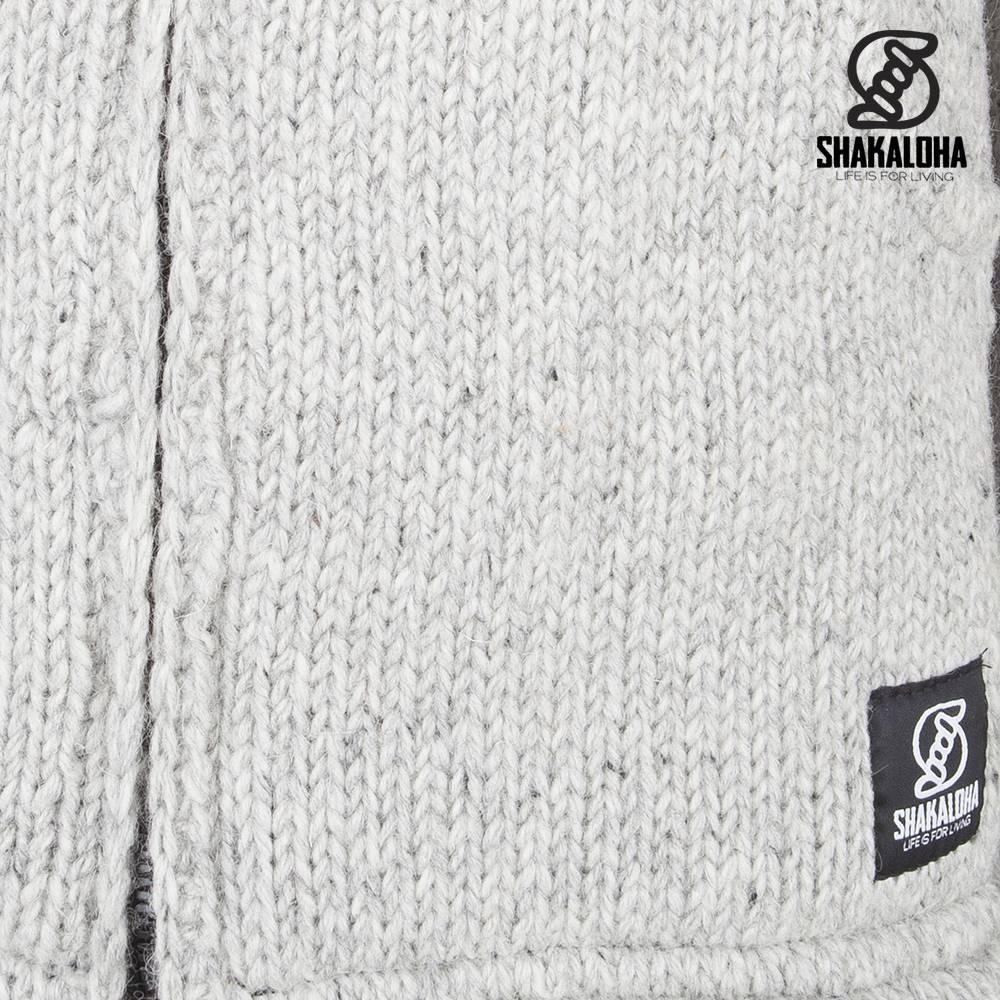 Shakaloha Shakaloha Veste en Laine Tricoté Flash Collar gris avec Doublure en polaire et Col haut - Hommes - Uni - Fabriqué à la main au Népal en laine de mouton