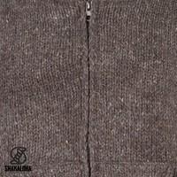Shakaloha Shakaloha Knitted Woolen Jacket Flash Collar Dark brown with Fleece Lining and High Collar - Men - Unisex - Handmade in Nepal from sheep's wool