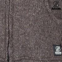Shakaloha Shakaloha Gebreid Wollen Vest Flash Collar Donker Bruin met Fleece Voering en Hoge Kraag - Man/Uni - Handgemaakt in Nepal van Schapenwol
