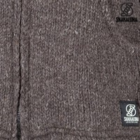 Shakaloha Shakaloha Veste en Laine Tricoté Flash Collar Marron foncé avec Doublure en polaire et Col haut - Hommes - Uni - Fabriqué à la main au Népal en laine de mouton