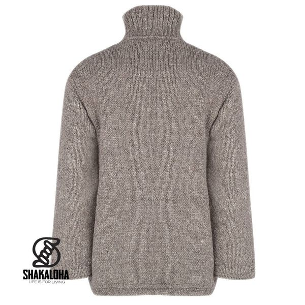 Shakaloha Shakaloha Knitted Woolen Jacket Flash Collar Light Brown Taupe with Fleece Lining and High Collar - Men - Unisex - Handmade in Nepal from sheep's wool