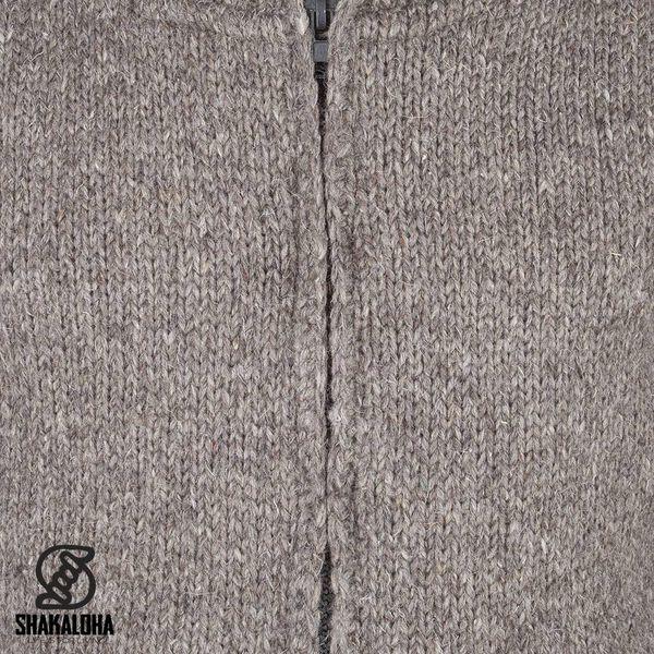 Shakaloha Shakaloha Wolljacke - Strickjacke Flash Collar Hellbraune Taupe mit Fleece-Futter und hohem Kragen - Herren - Uni - Handgemacht in Nepal aus Schafwolle