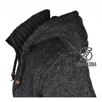 Shakaloha Shakaloha Wolljacke - Strickjacke Flash Ziphood Anthrazit mit Fleece-Futter und Abnehmbarer Kapuze - Herren - Uni - Handgemacht in Nepal aus Schafwolle