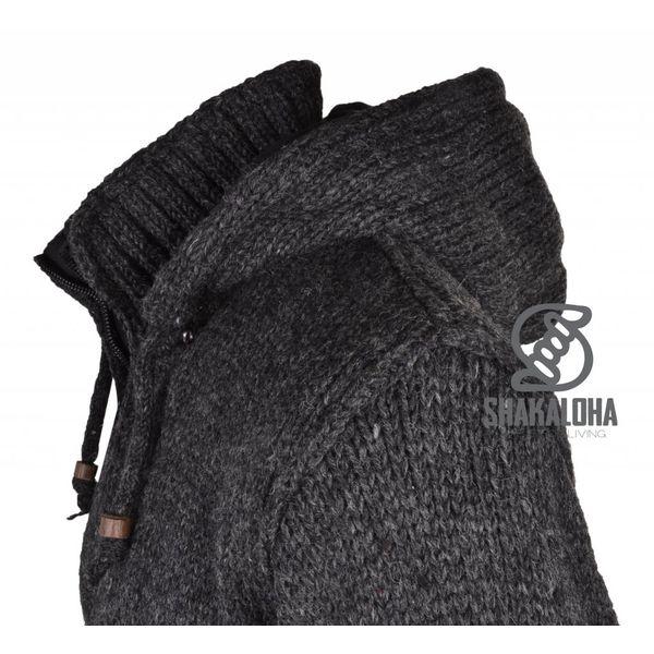 Shakaloha Shakaloha Gebreid Wollen Vest Flash Ziphood Antraciet met Fleece Voering en Afneembare Capuchon - Man/Uni - Handgemaakt in Nepal van Schapenwol