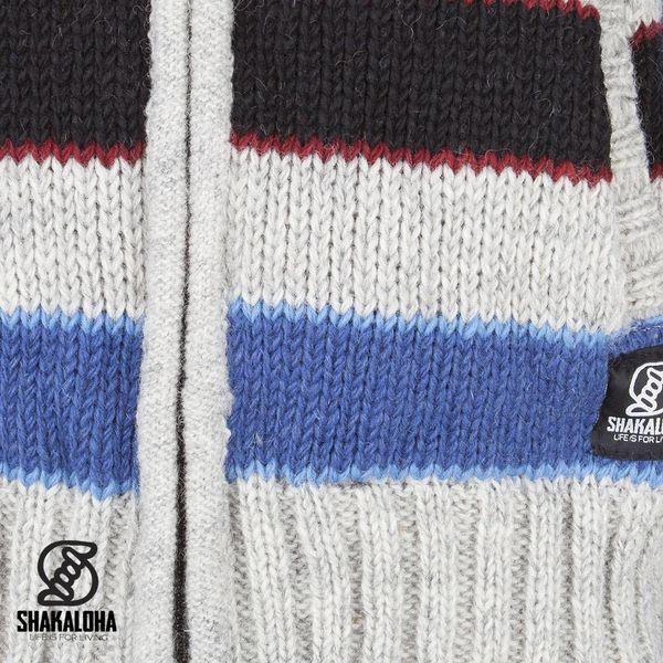 Shakaloha Shakaloha Gebreid Wollen Vest Jive Grijs Rood NavyBlue met Fleece Voering en Capuchon met Binnenkraag - Man/Uni - Handgemaakt in Nepal van Schapenwol